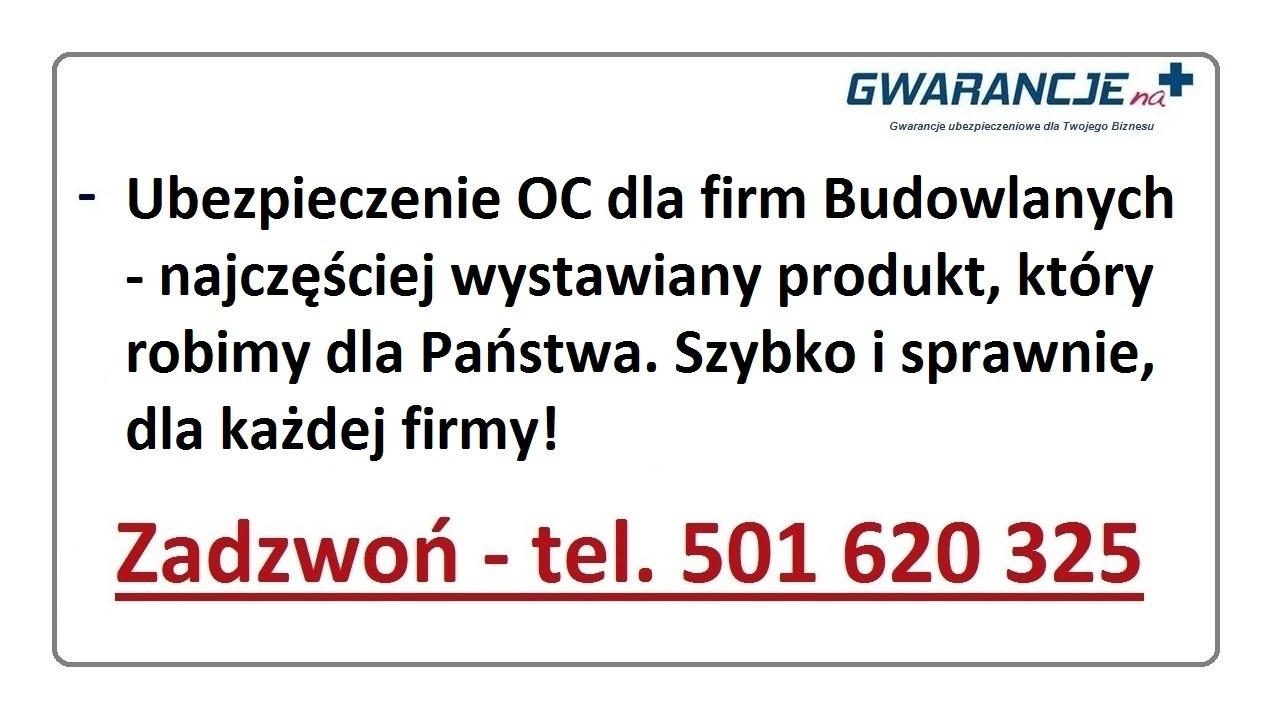 Ubezpieczenie OC dla firm Budowlanych
