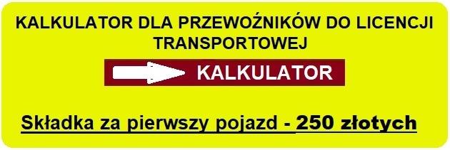 Kalkulator OC przewoźnika do licencji transportowej